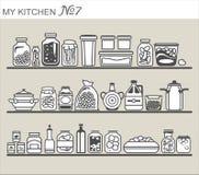 Kitchen utensils on shelves Stock Image