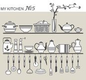 Kitchen utensils on shelves #5 Royalty Free Stock Images