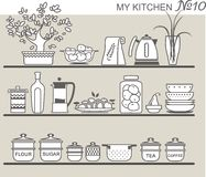 Kitchen utensils on shelves Stock Photos