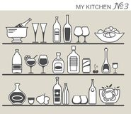 Kitchen utensils on shelves Stock Photography