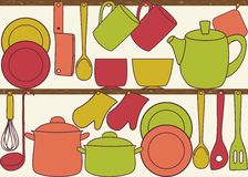 Kitchen utensils on shelves - seamless pattern Royalty Free Stock Photography