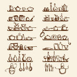 Kitchen utensils on shelves, sketch drawing. For your design Stock Photos