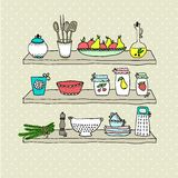 Kitchen utensils on shelves, sketch drawing Stock Images