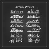 Kitchen utensils on shelves, sketch drawing for your design Royalty Free Stock Photos