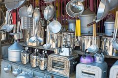 Kitchen utensils in a shop in Indonesia. Asia Royalty Free Stock Photos