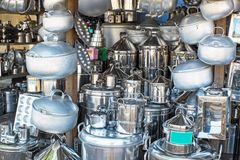 Kitchen utensils in a shop in Indonesia Stock Photo