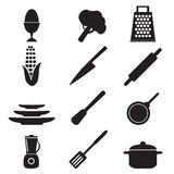 Kitchen utensils sign set illustration Stock Image