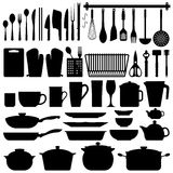 Kitchen Utensils Silhouette Vector. A big set of kitchen equipment and utensil in silhouette. This include cutlery, cooking equipment, plate, pot, and many Royalty Free Stock Photo