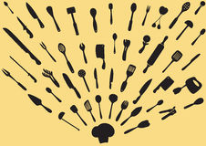 Kitchen Utensils Silhouette Vector Stock Images