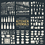 Kitchen utensils silhouettes bundle. Vector light color various kitchen utensils silverware dishware crockery and cutlery tools isolated collection on black Royalty Free Stock Images