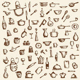Kitchen utensils, sketch drawing for your design Royalty Free Stock Photo