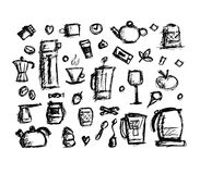 Kitchen utensils, sketch drawing for your design Royalty Free Stock Image