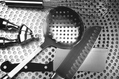Kitchen utensils on stainless steel Royalty Free Stock Image