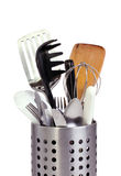 Kitchen utensils in a metal holder Stock Image