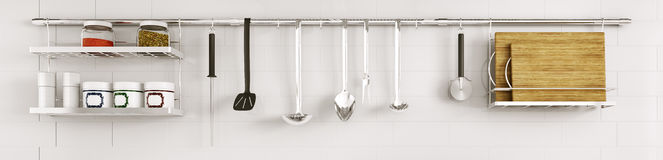 Kitchen utensils on the tiled wall 3d render Royalty Free Stock Images
