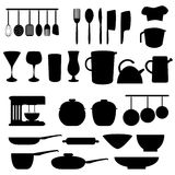 Kitchen utensils and tools. In gray Stock Photography