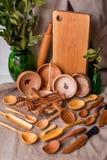 Kitchen utensils. Various handmade wooden kitchen utensils on vintage background Royalty Free Stock Images