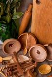 Kitchen utensils. Various handmade wooden kitchen utensils on vintage background Stock Image