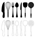 Kitchen Utensils Vector. Kitchen utensils - Vector, isolated on white, Kitchen utensil Silhouette Collection royalty free illustration