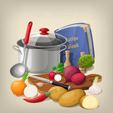 Kitchen utensils and vegetables. Vector kitchen background. Royalty Free Stock Image