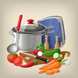 Kitchen utensils and vegetables. Vector kitchen background. Royalty Free Stock Photo