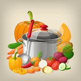 Kitchen utensils and vegetables. Vector kitchen background. Stock Images