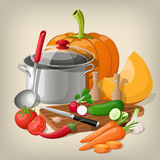 Kitchen utensils and vegetables. Vector kitchen background. Stock Photos