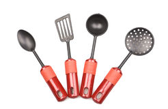 Kitchen utensils on white royalty free stock image
