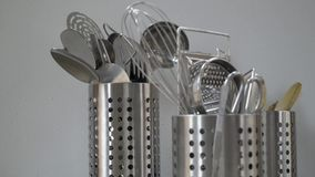 Kitchen utensils on white background. stock video footage