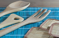 Kitchen utensils of the wood Stock Photos