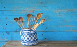 Kitchen utensils, wooden spoons Royalty Free Stock Photos