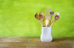 Kitchen utensils, wooden spoons, Royalty Free Stock Photography