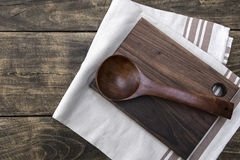 Kitchen utensils on the wooden worktop Royalty Free Stock Photography