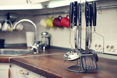 Kitchen utensils on  work top Royalty Free Stock Photos