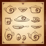 Kitchen vector icon set. Vector silhouette illustration Royalty Free Stock Photo