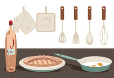 Kitchen. Vector illustration of a kitchen. Solid fill only Stock Photo