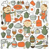 Kitchen vector set, cartoon colorful elements Stock Images