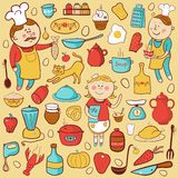 Kitchen vector set, cartoon colorful elements Royalty Free Stock Images