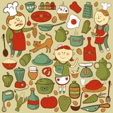 Kitchen vector set, cartoon colorful elements Stock Image