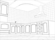 Kitchen vector sketch interior. Illustration Stock Photos