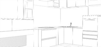 Kitchen vector sketch interior. Illustration Royalty Free Stock Images