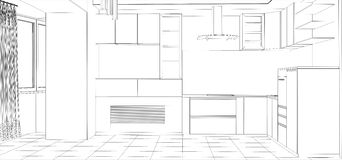 Kitchen vector sketch interior. Illustration Stock Image