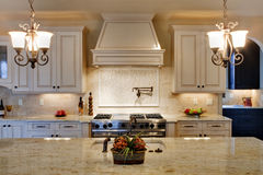 Kitchen with View of Cooking Island. Luxury kitchen with granite counter tops Stock Image