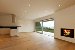 Kitchen view and fireplace Royalty Free Stock Photography
