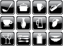 Kitchen ware. Black brilliant buttons. Icons of kitchen ware Royalty Free Stock Photography
