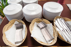 Kitchen ware. Dishes ware prepare for seminar Royalty Free Stock Photos