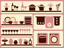 Kitchen ware and home objects set. Kitchen ware and home objects silhouettes set Royalty Free Stock Photos
