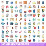 100 kitchen ware icons set, cartoon style. 100 kitchen ware icons set. Cartoon illustration of 100 kitchen ware vector icons isolated on white background Stock Photography