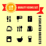 Kitchen ware quality icon set Stock Images