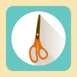 Kitchen ware scissors. Vector flat icon with long shadow Stock Photos